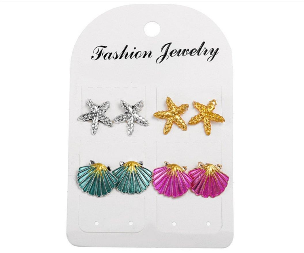 4 Pairs Earrings Set Symmetrical Starfish Shell Earrings Colored s.