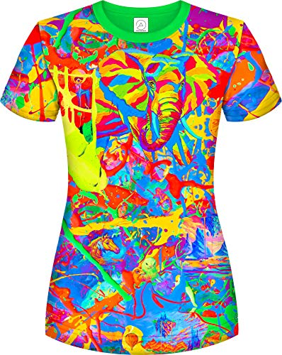 (Aofmoka Neon Real Elephant Glow Stick Vintage Decor Blacklight Party T-Shirt)
