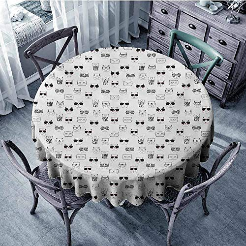 New Textured Oval Glass Beads - Cat Natural Tablecloth Cool Hipster Cat Portraits with Sunglasses Funny Faces Humor Characters Doodle Perfect for Dinner 70