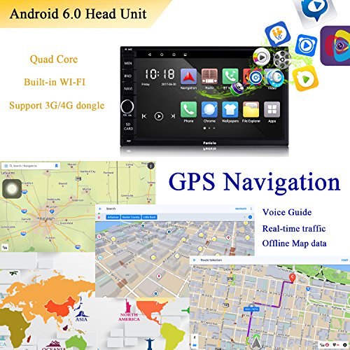 Panlelo PA012s Android 6.0 Car Stereo Double Din Car GPS Navigation 7 inch Car Radio Head Units Touch Screen BT WIFI Mirror Link SWC Quad Core 1GB RAM 16GB ROM AM/FM/RDS by Panlelo (Image #4)