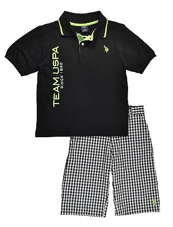 c2304912a Amazon.com  US Polo Assn Big Boys Black Polo 2pc Checks Short Set ...