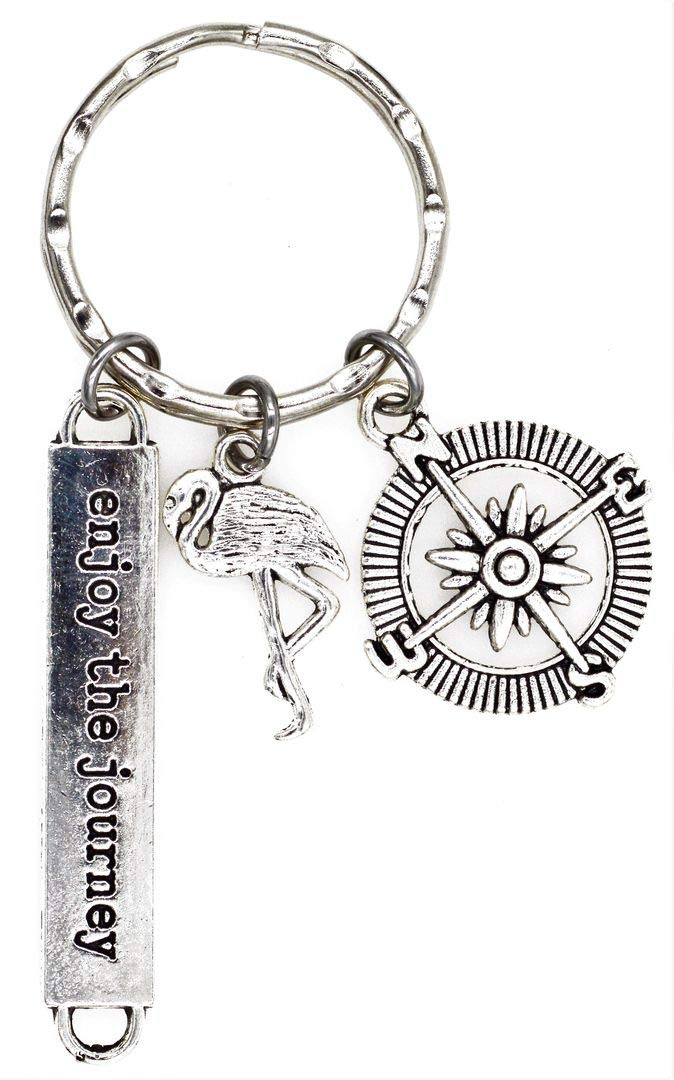 Its All About...You Enjoy The Journey Compass Flamingo Keychain 2V