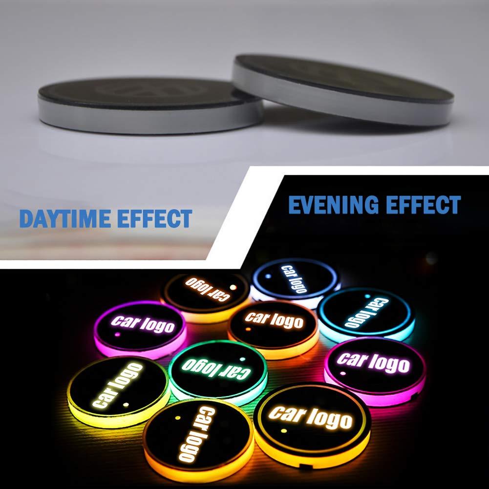 Porta LED per Auto f/ür Audi con Logo Lampada LED per Auto con Logo Cambia Il Tappetino di Ricarica USB sottobottiglia per Auto 7 Colori 2 Pezzi luci datmosfera