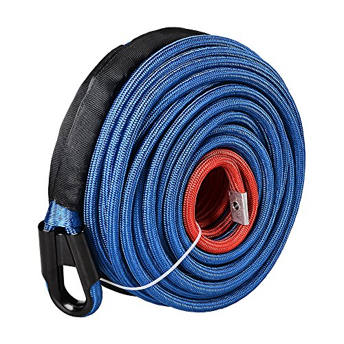 Astra Depot Blue 95ft x 3/8 Inch 22000LBS Synthetic Winch Line Cable Rope with Heat Guard Protective Sleeve All Rock Guard for Jeep ATV UTV 4X4 Off-Road ()