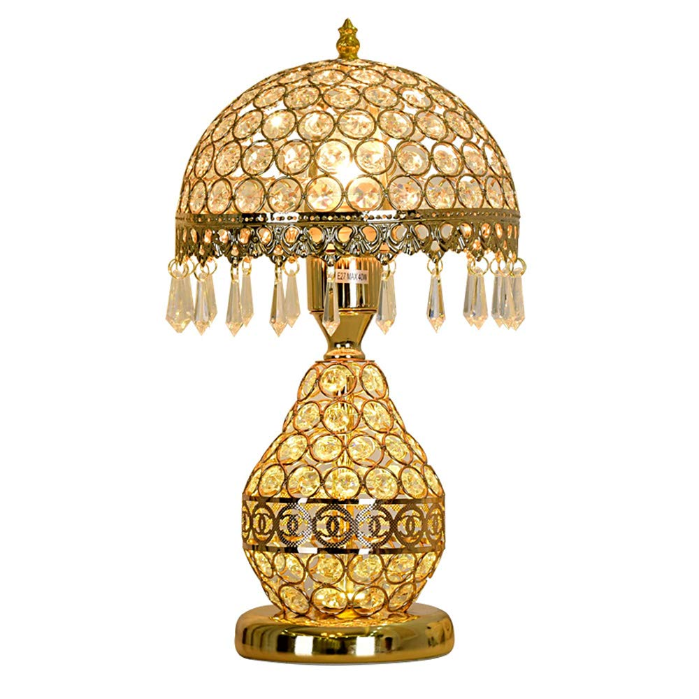 American Crystal Tischlampen, LED Hardware Beleuchtung Dekoration Europäischen Nachttischlampe moderne minimalistische Wohnzimmer Studie Schreibtisch Licht, Gold (Edition   Push button switch)