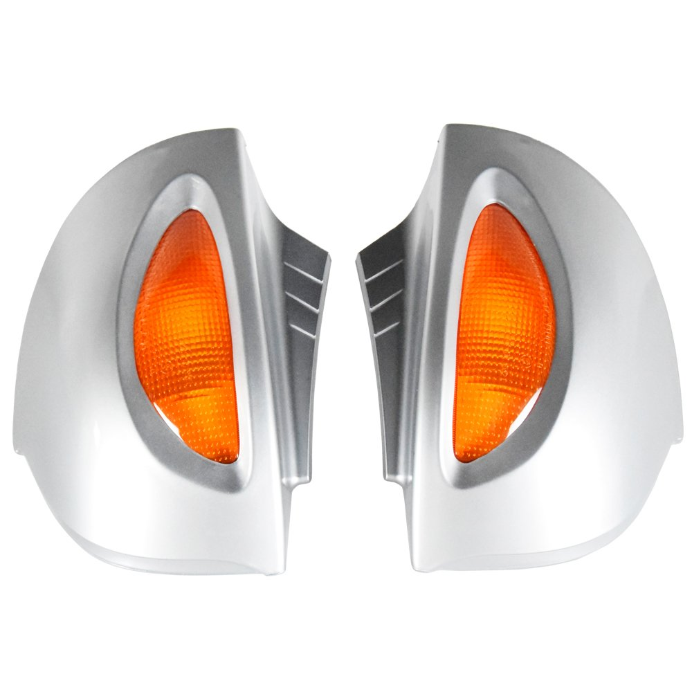 Side Rear View Mirrors Turn Signal Lens Silver for BMW R1100RT R1150RT R1100 RT R1150 RT