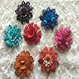 CoolPart 10Pcs/Lot Beautiful 3D Small Bead Flower Applique Patch Embroidery Fabric Sew On Wedding Dress Clothes Accessory 6*7Cm Blue Red Perfect Patches