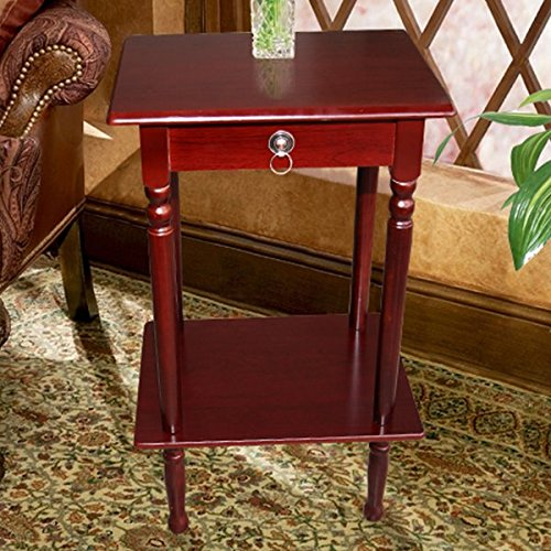 Square Telephone Stand in Mahogany Rectangular Shape Wood Construction Multi-tiered Includes a Faux Drawer and a Lower Shelf