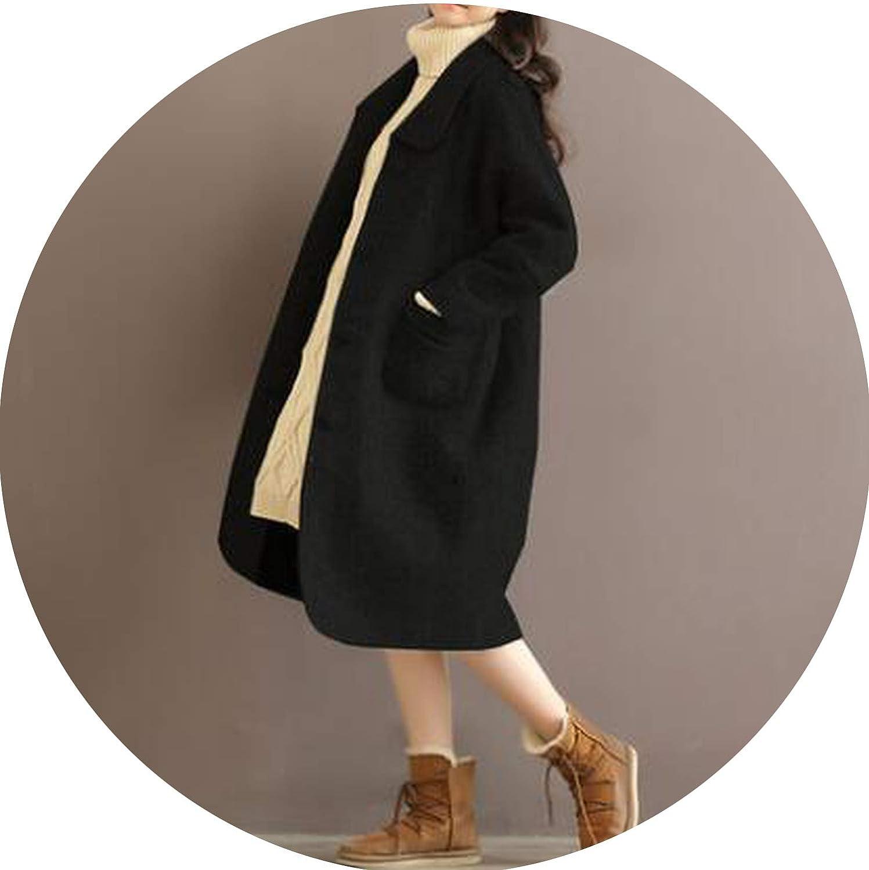 Black Jifnhtrs Fashion Wool Women's Coat Autumn Plus Size Jacket Long Fashion Coat Navy bluee Black XL5XL