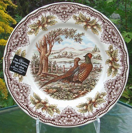 Set of 4, The Victorian English Pottery Woodland Pheasant Dinner Plate Thanksgiving Harvest Multi-Color