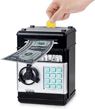 Wenosda Huchas Caja de Dinero Cajero Automático Electrónico Desplazamiento Moneda en Efectivo Hucha Contraseña Cajas de Seguridad Caja Fuerte, para Niñas Niños Cumpleaños (Negro): Amazon.es: Juguetes y juegos