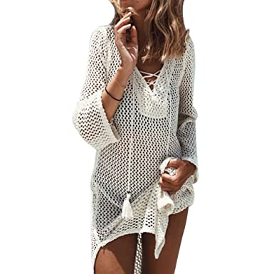 8ed2551844cc ZKOOO Femme Longue Manches Col V Robes De Plage Bikini Crochet Blouse Cover  Up Maillot De Bain Sarong Pareo Chemisier Beachwear Swimsuit Cover-up  Beige  ...