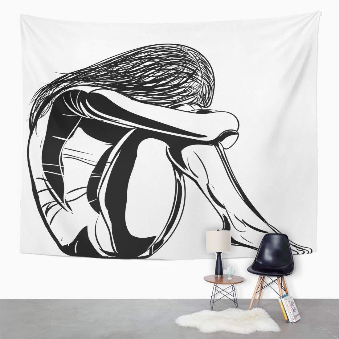 Amazon com emvency wall tapestry woman sad girl sitting