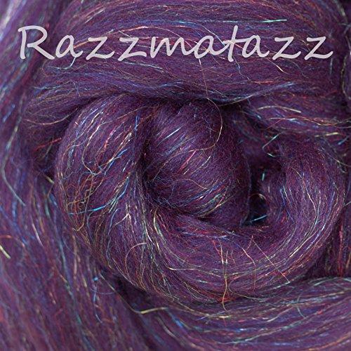 Glitz Jewel (SPARKLE, GLITZ and GLAM: Super Soft Merino Jewel Tones with Colorful Metallic Highlights. Festive Fiber for Spinning, Felting and Blending. Razzmatazz)