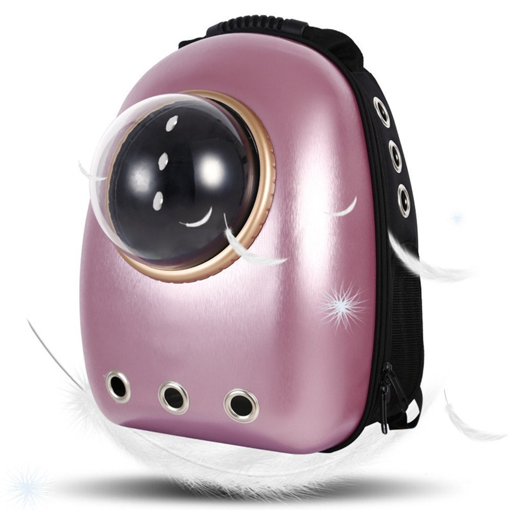 Geekercity Pet Carrier Backpack Bag for Small Little Medium Dogs Cats, Innovative Portable Plastic Space Capsule Astronaut Travel Bubble Box Purse for Women Men Outdoor Use (Pink)