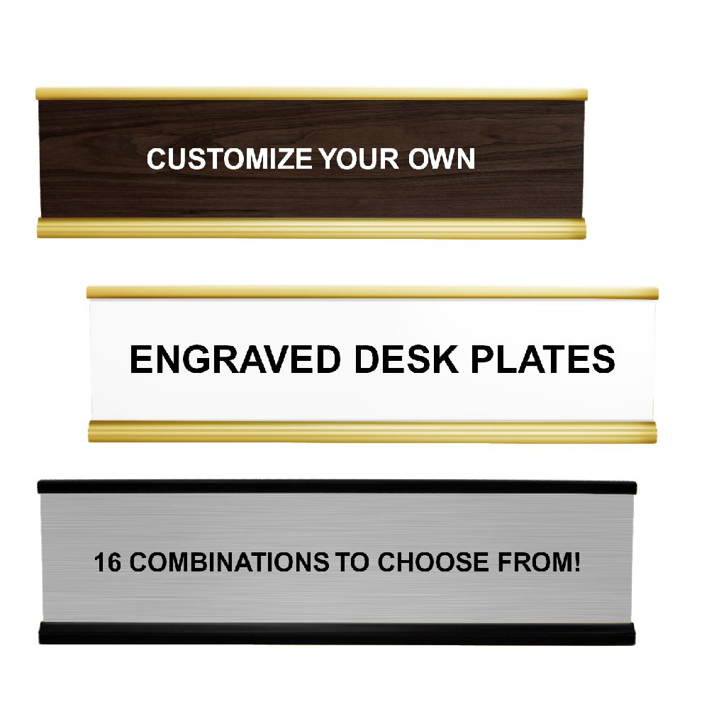 Customizable Desk Name Plate, 2x8 Plastic Desk Plates with Aluminium Holders in a Variety of Colors