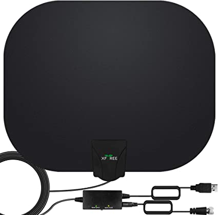 2020 Latest Digital HD Indoor Antenna Amplified 200 Miles with Amplifier Signal Booster-Support 4K 1080P Channels and All TVs Digital Antenna-17ft Coax Cable//USB Power Adapter TV Antenna