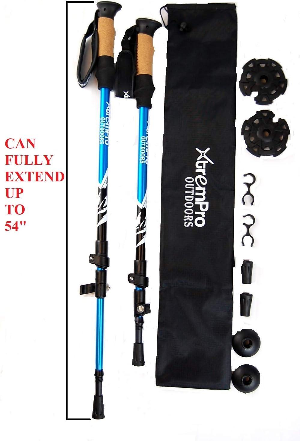 Xtrempro 2 Piece Trekking Adjustable Poles and Snowshoes Set Snow Terrain Kit Ergonomic Bundle Lightweight Aluminum with Carrying Tote Bag