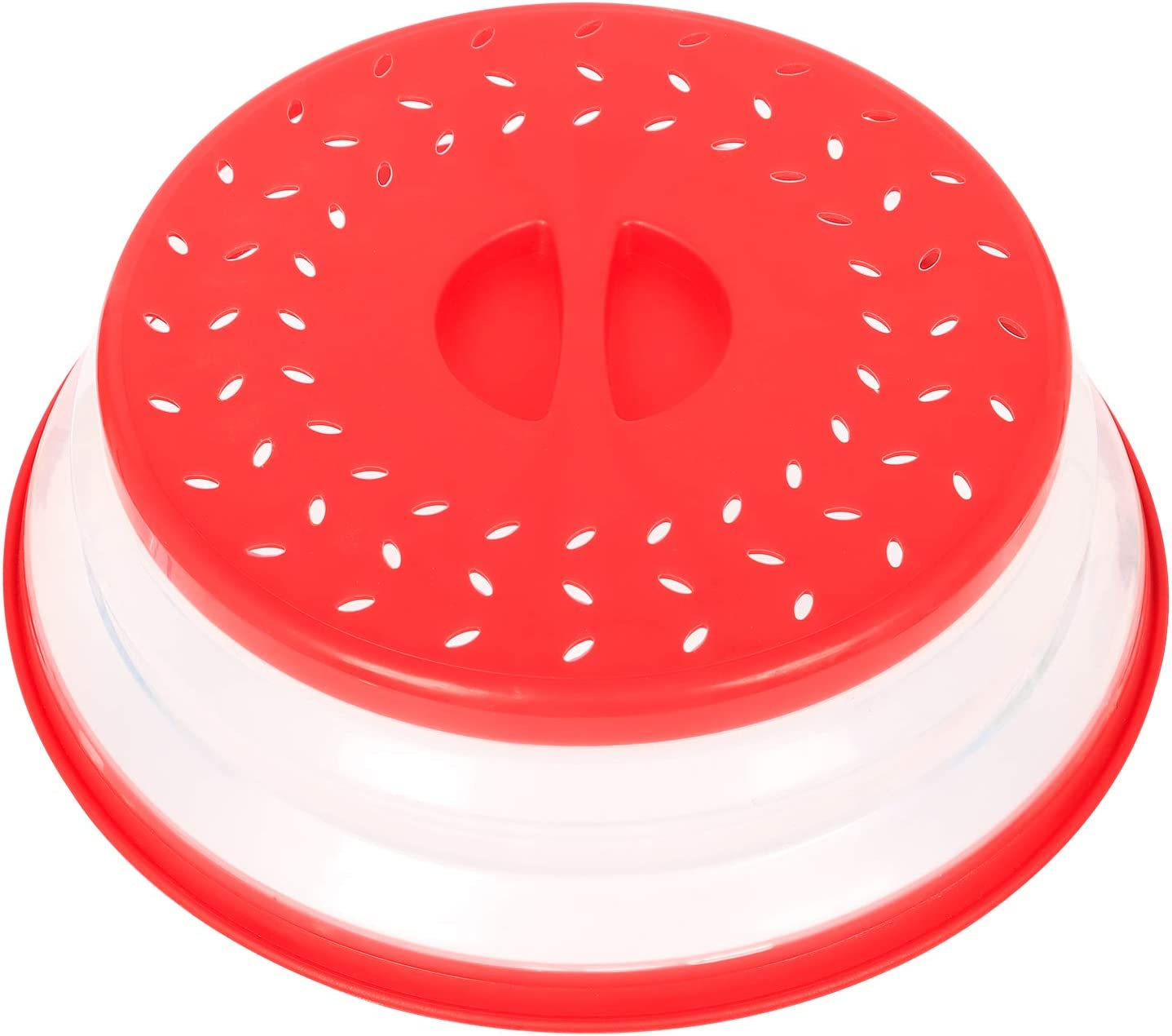 Emoly Collapsible Microwave Cover, Easy Grip Food Splatter Cover Colander Strainer Splatter for Fruit Vegetables, Bap Free and Non-Toxic - Red
