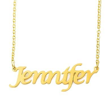 17abfe67b45c7 Amazon.com: Jennifer Name Necklace - 18ct Gold Plated: Jewelry