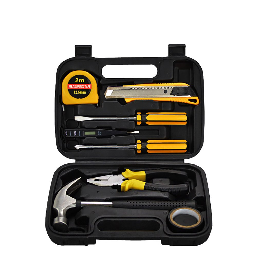Spring fever General 9 PCS Household Hardware Tool Kit for Home Maintenance with Plastic Toolbox
