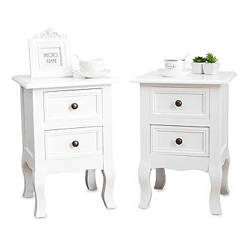 uenjoy une paire de tables de chevet en bois avec 2 tiroirs table de nuit blanche