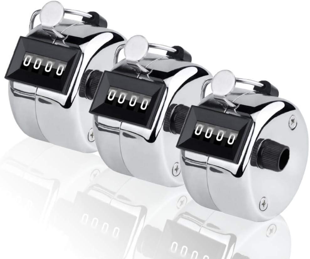 ANIN 3 paquetes de contadores manuales, rastreadores de vueltas de 4 dígitos, clickers manuales de metal para 9999 para entrenador deportivo Casino, color plateado