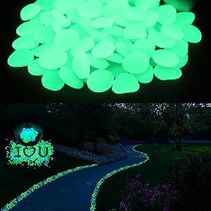 Glow Pebbles Stones Glow in The Dark Rocks for Outdoor Yard Garden,Pond, Fish Tank,Lawn Yard Walkway Garden, Grave Decoration, DIY Luminous Stones in Green(200PCS)