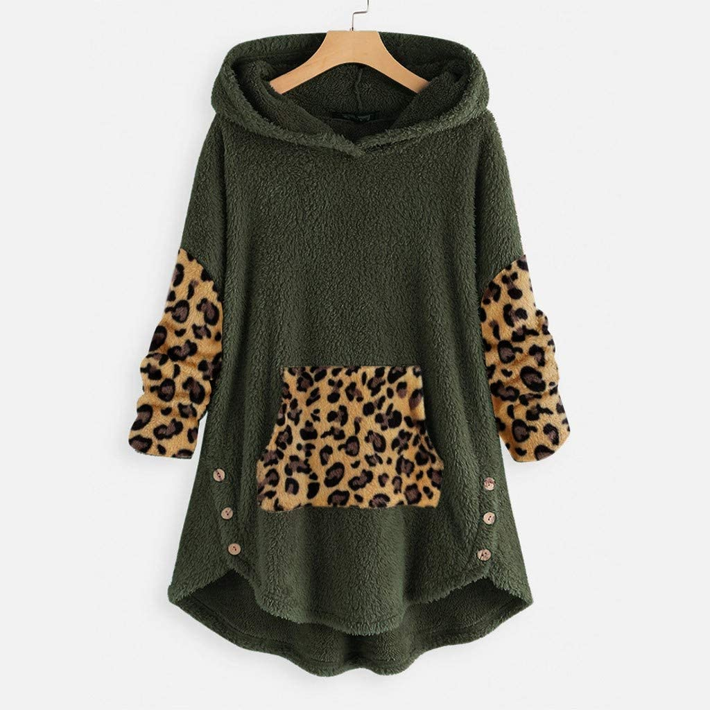 Amlaiworld Women Plus Size Sweatshirt Plush Leopard Patchwork Button Hem Hoodie Top Sweater Blouse