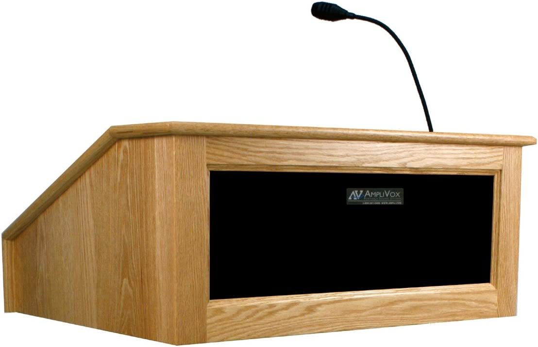Amazon Com Amplivox Ss3025 Victoria Tabletop Lectern With Sound System Non Wireless Mahogany Office Products