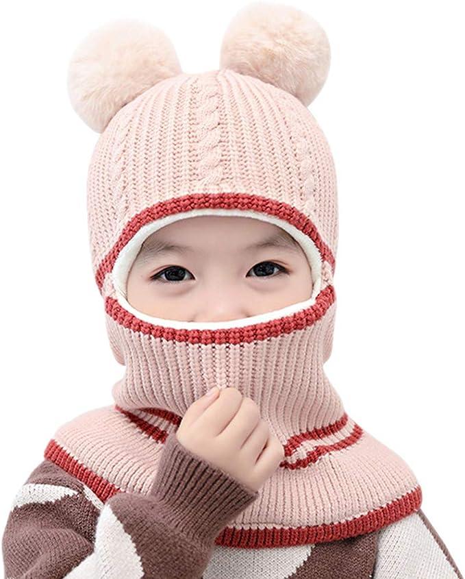 Girls Boys Winter Knitted Beanie Hat Warm Fleece Lined Neck Warmer Laus Kids Hat Scarf Set
