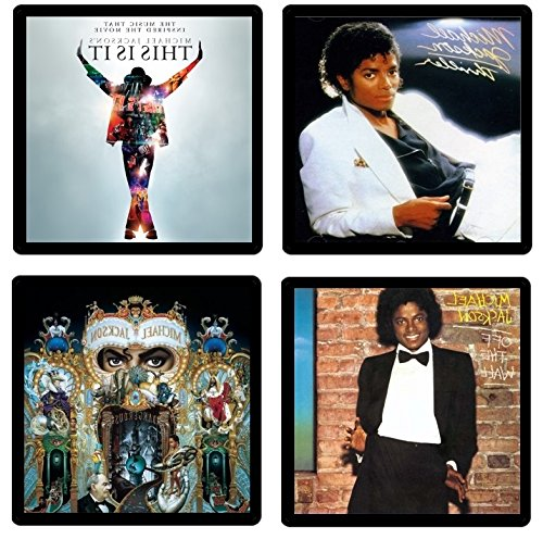Thriller Album Cover (Michael Jackson Coaster Gift Collection - (4) Different Album Covers Reproduced Onto Absorbent, Soft, Drink Coasters)