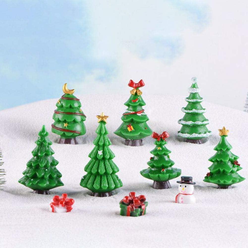 EFINNY Adornos navideños 7 Pack Resina Árboles de Navidad Figuritas Adorno en Miniatura para DIY Fairy Garden Dollhouse Decoración Artesanías Resina Navidad Árbol Figurines: Amazon.es: Hogar