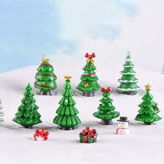 EFINNY Adornos navideños 7 Pack Resina Árboles de Navidad ...