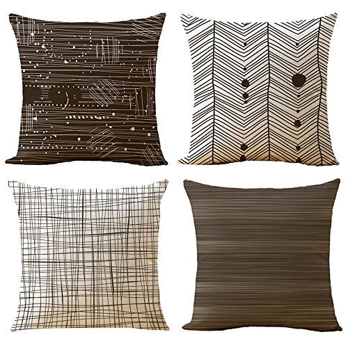 "WOMHOPE 4 Pcs - 16.5"" [Just Pillow Covers] Brown & Tan Geometric Stripe Printing Cotton Linen Throw Covers Throw Pillow Covers Square Cushion Covers Pillowcase for Couch,Sofa (E Set of 4)"
