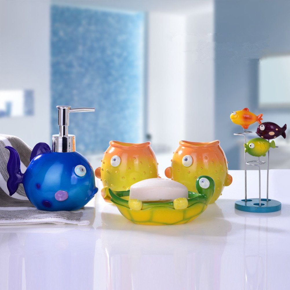 YOURNELO Kid's Cartoon Cute Animals Tropical Fish 5 Piece Bathroom Accessories Set Soap Dispenser Soap Dish Toothbrush Holder Tumbler Cups (Finding Nemo)