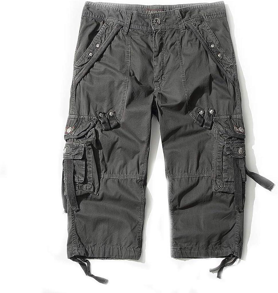 DONGD Mens Cargo Shorts Cotton 3//4 Loose Fit Below Knee Capri Cargo Short