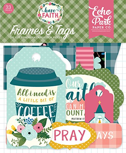 Echo Park Paper Company HAF152025 This  Have Faith Frames & Tags,  Purple, Pink, Mint Green, Teal, Coral ()