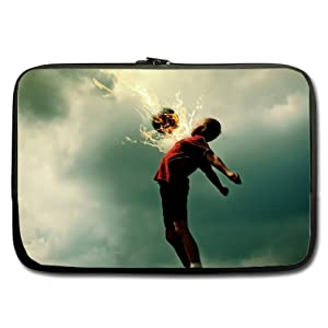 INSTALL AND EASY TO CARRY Wear& Slim &Dapper Soccer Custom Neoprene Sleeve for Laptop 15.6 Inches(Twin sides)