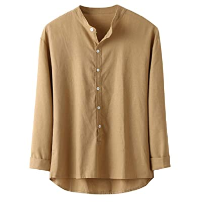 Eoeth Big Sale! Mens Solid Button Down Shirt, Casual Linen and Cotton Long Sleeve Top Lightweight Baggy Retro Blouse: Clothing [5Bkhe0503591]