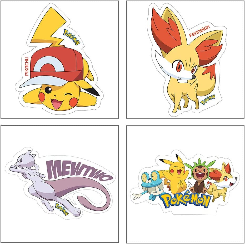 Amazon Com Myesha Toys Pokemon Small Size Sticker Pack Of 4 Sticker Sheet Of Comic And Cartoon Characters Pikachu Fennekin Mewtwo And Pokemon Asia Toys Games