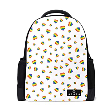 ae87b1abb1 Fashion Student Backpack Gay Flag Heart Vector Classic College Bookbag  Lightweight Travel Back Bag School Bookbag