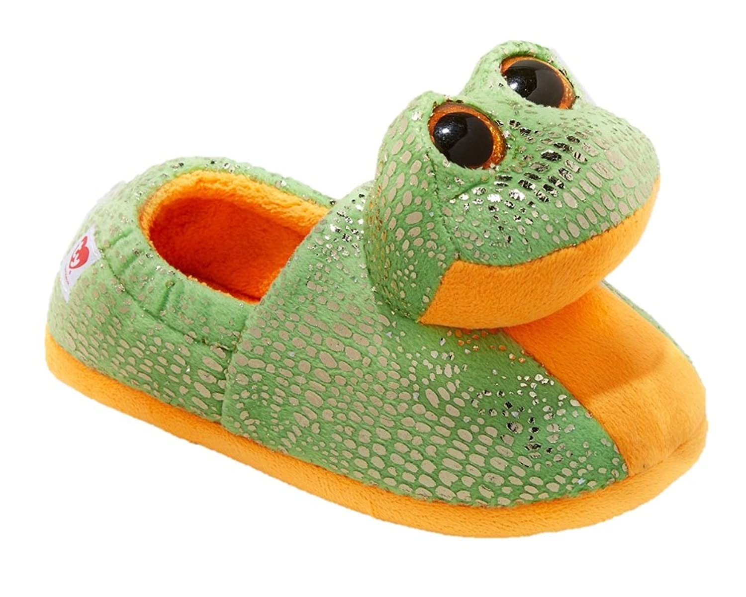 Boys Girls TY Beanie Boos Speckles Frog Slippers Size Large 4/5