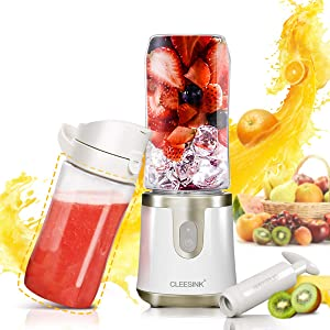 Antioxidant Portable Blender for Shakes and Smoothies, Personal Blender USB Rechargeable with Vacuum Lid, 14oz