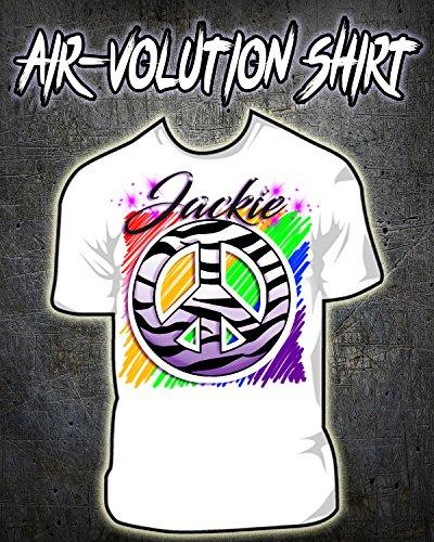 Personalized Airbrushed Zebra Peace Sign Shirt ()