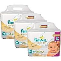 Kit 3 Fraldas Pampers Premium Care Tamanho M com 252 Unidades