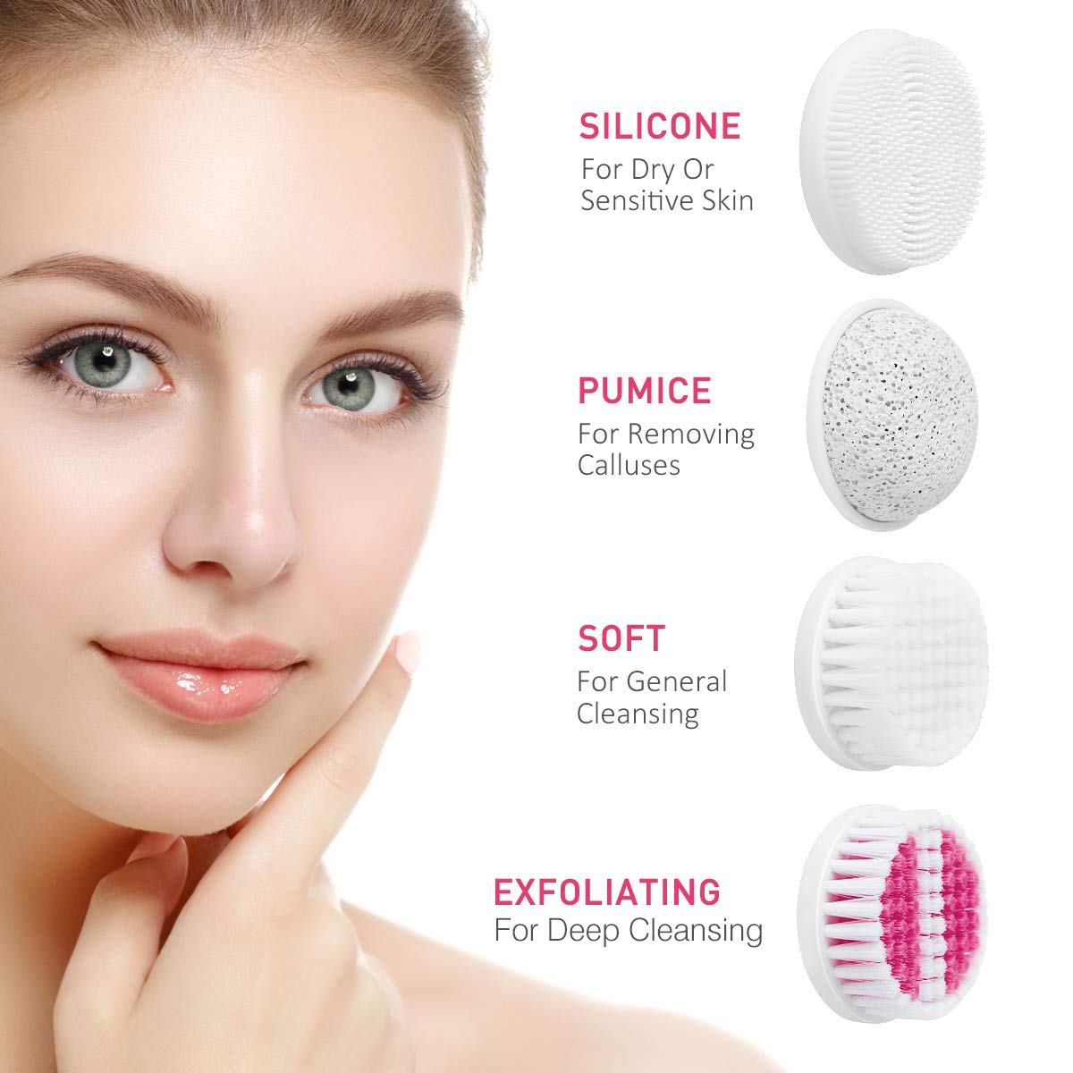 Facial Cleansing Brush, 4-In-1 Facial Brush Waterproof Spin Brush - Pink