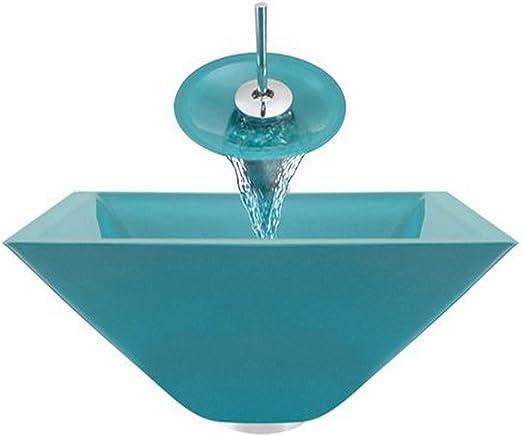 Aurora Sinks G01-Moraine-C-G Bathroom Ensemble with Grid Drain Chrome Sink Ring and Waterfall Faucet Moraine Glass Vessel
