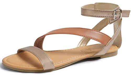 5a4bded5a SANDALUP Flat Sandals with Oblique Band Ankle Strap for Women  Nude-Brown-Nude 05