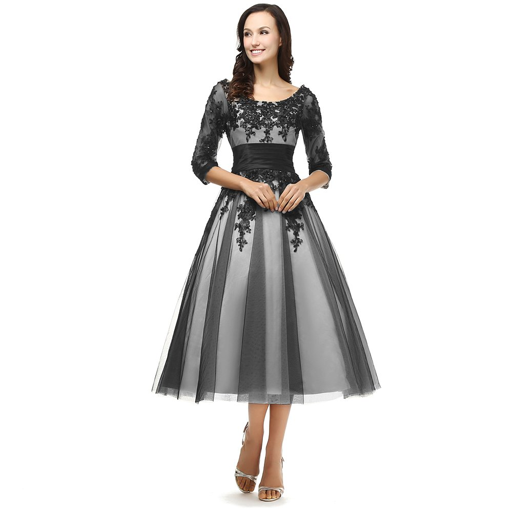 Kivary Women's Vintage White and Black Lace Short Prom Evening Dresses With Sheer 1/2 Sleeves US 18W